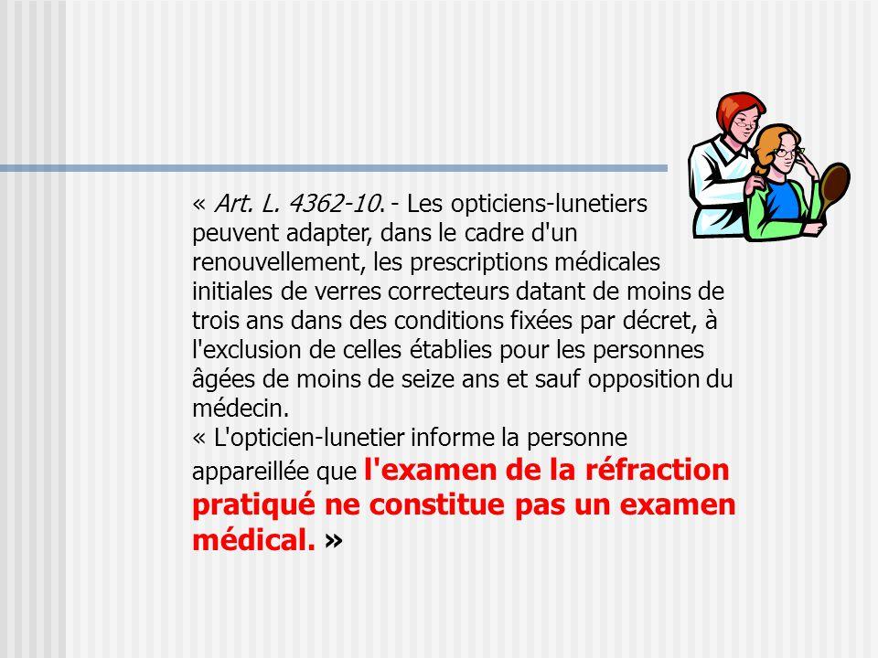 « …quant aux opticiens, ils reçoivent une formation en deux ans (BTS) sans aucune connexion avec le monde médical : ils ne sont pas en mesure de dépister des maladies ou de faire face à une demande d'anomalie visuelle » J.B.Rottier -Vice-Président du Syndicat National des Ophtalmologistes de France Valeurs mutualistes N°245 sept-oct 2006