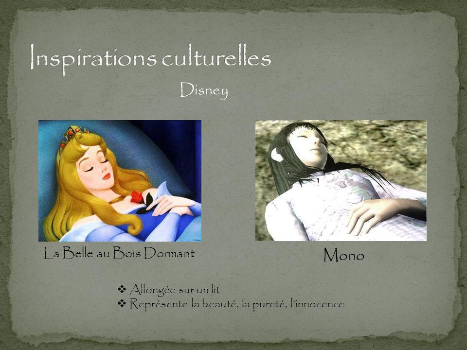 Mono La Belle au Bois Dormant Disney  Allongée sur un lit  Représente la beauté, la pureté, l'innocence