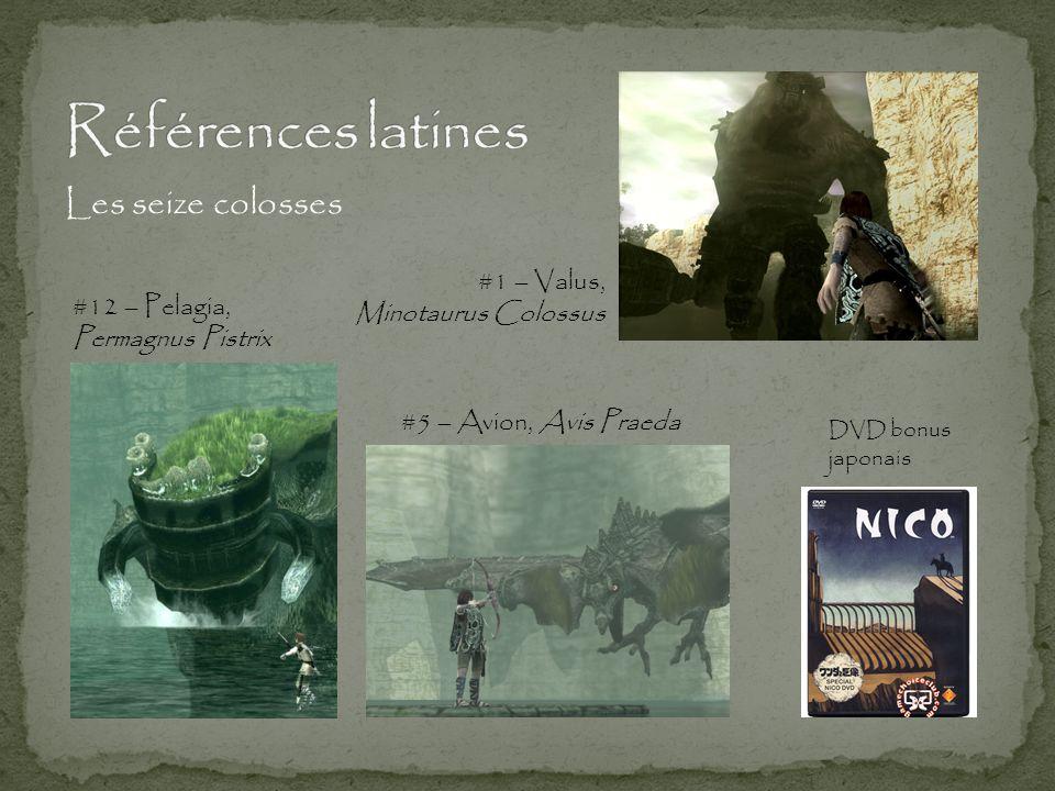 Les seize colosses #1 – Valus, Minotaurus Colossus #5 – Avion, Avis Praeda #12 – Pelagia, Permagnus Pistrix DVD bonus japonais