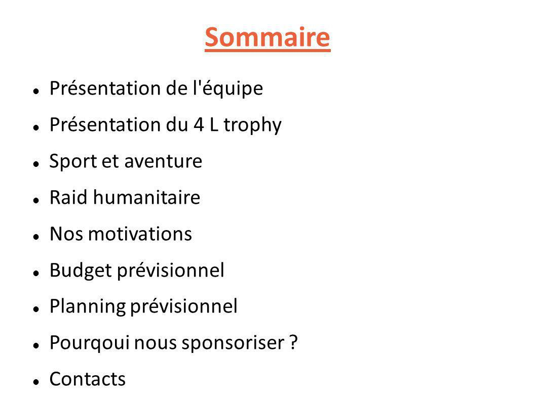 Sommaire Présentation de l équipe Présentation du 4 L trophy Sport et aventure Raid humanitaire Nos motivations Budget prévisionnel Planning prévisionnel Pourqoui nous sponsoriser .