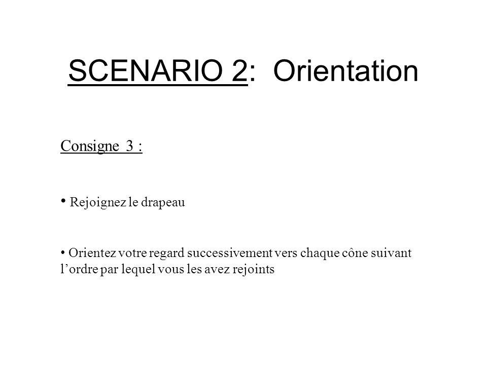 SCENARIO 2: Orientation Consigne 3 : Rejoignez le drapeau Orientez votre regard successivement vers chaque cône suivant l'ordre par lequel vous les av