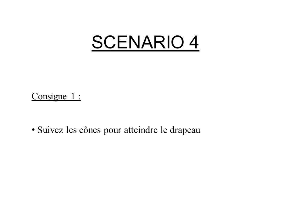 SCENARIO 4 Consigne 1 : Suivez les cônes pour atteindre le drapeau