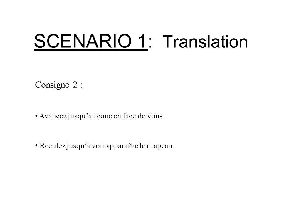 SCENARIO 1: Translation Consigne 3 : Avancez de manière à être sous le trou Sans déplacer votre regard, élevez-vous de manière à passer au travers de ce trou Une fois hors de la salle arrêtez vous Redescendez dans la salle
