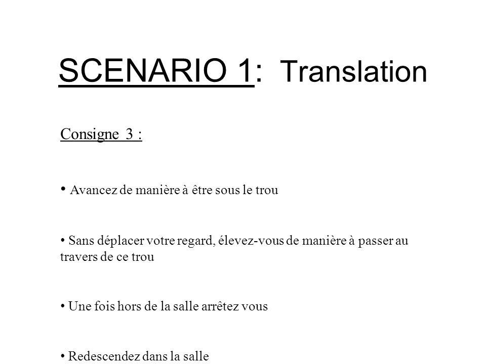SCENARIO 1: Translation Consigne 3 : Avancez de manière à être sous le trou Sans déplacer votre regard, élevez-vous de manière à passer au travers de