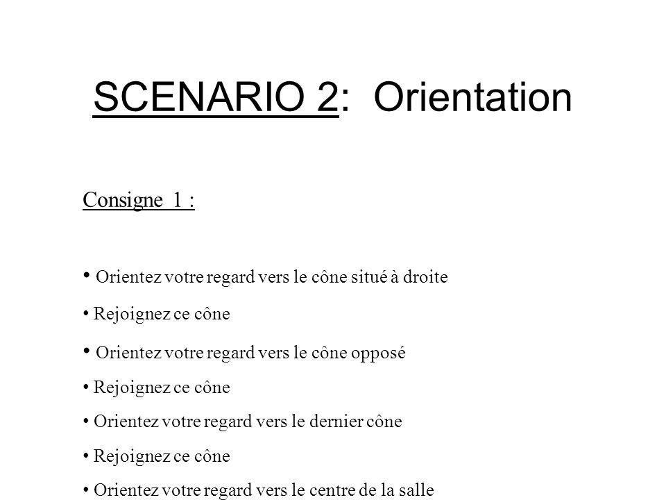 SCENARIO 2: Orientation Consigne 1 : Orientez votre regard vers le cône situé à droite Rejoignez ce cône Orientez votre regard vers le cône opposé Rej