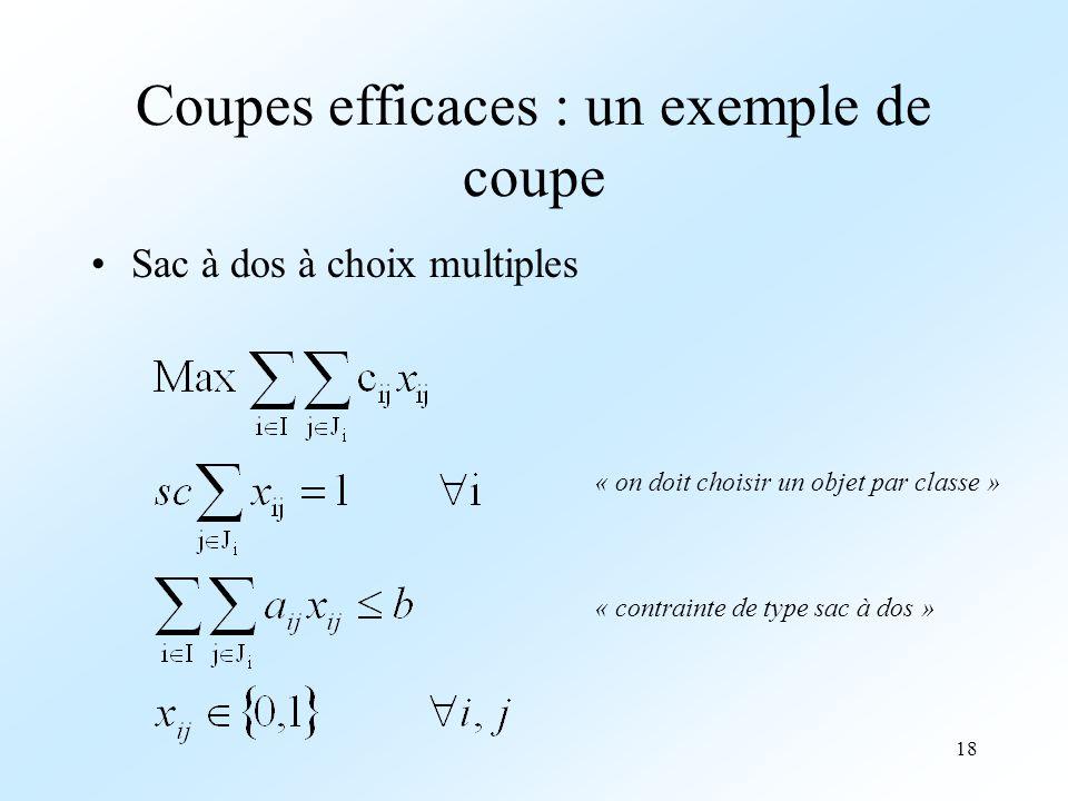 18 Coupes efficaces : un exemple de coupe Sac à dos à choix multiples « on doit choisir un objet par classe » « contrainte de type sac à dos »