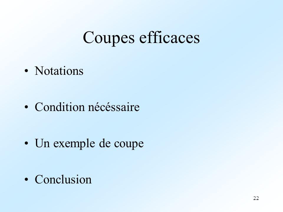 22 Coupes efficaces Notations Condition nécéssaire Un exemple de coupe Conclusion