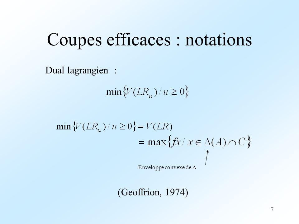 8 Coupes efficaces Notations Condition nécéssaire Un exemple de coupe Conclusion