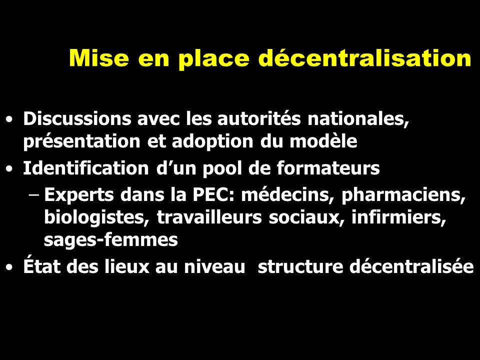 Mise en place décentralisation Discussions avec les autorités nationales, présentation et adoption du modèle Identification d'un pool de formateurs –E