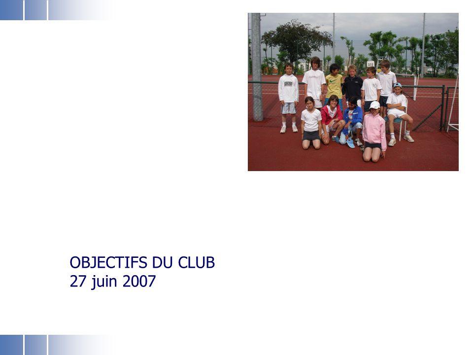 ASF Section tennis 27 juin 2007 1 Objectifs du club Rendre le tennis accessible à tous les fontenaisiens, en particulier les jeunes Améliorer l'accessibilité des terrains et favoriser l'intégration des nouveaux(elles) joueurs(ses) Améliorer la qualité de la pédagogie