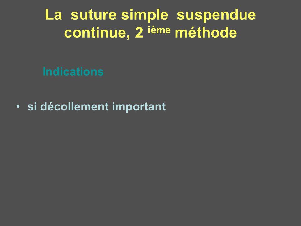 si décollement important La suture simple suspendue continue, 2 ième méthode Indications