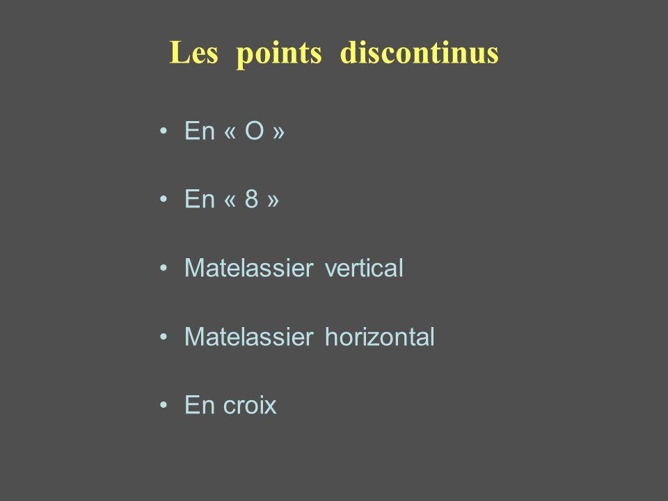 Les points discontinus En « O » En « 8 » Matelassier vertical Matelassier horizontal En croix