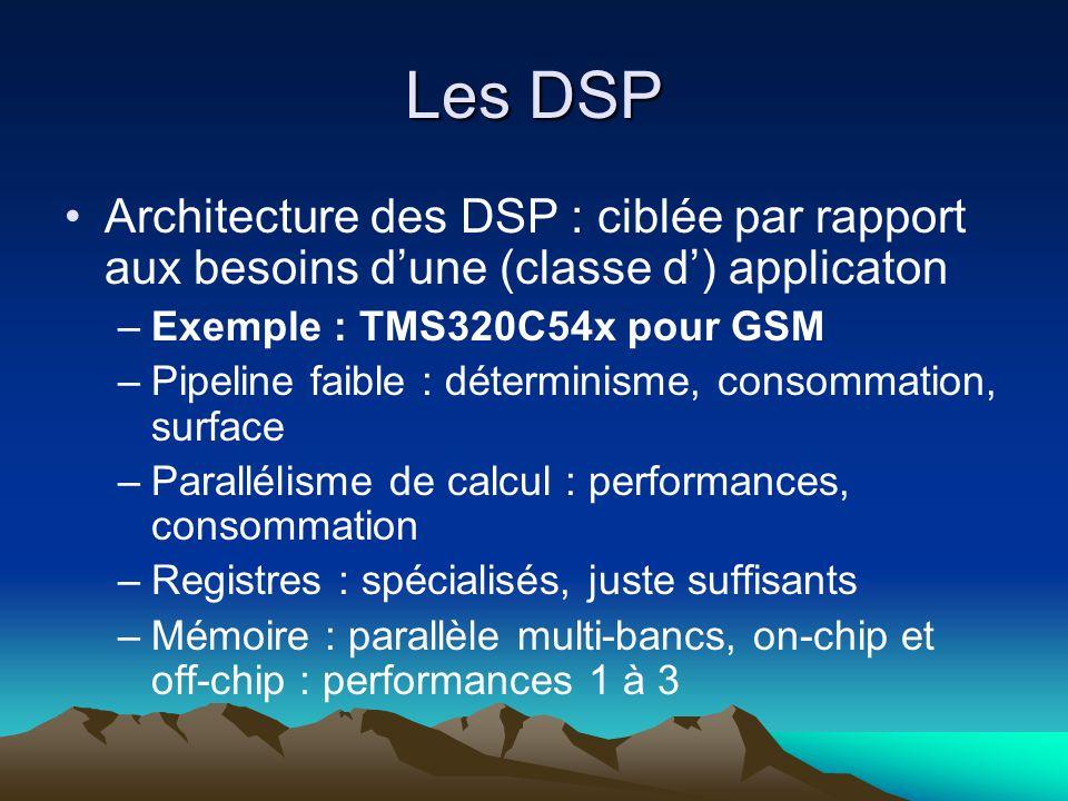 Les DSP Architecture des DSP : ciblée par rapport aux besoins d'une (classe d') applicaton –Exemple : TMS320C54x pour GSM –Pipeline faible : déterminisme, consommation, surface –Parallélisme de calcul : performances, consommation –Registres : spécialisés, juste suffisants –Mémoire : parallèle multi-bancs, on-chip et off-chip : performances 1 à 3