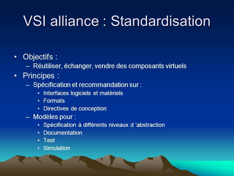 VSI alliance : Standardisation Objectifs : –Réutiliser, échanger, vendre des composants virtuels Principes : –Spécification et recommandation sur : Interfaces logiciels et matériels Formats Directives de conception –Modèles pour : Spécification à différents niveaux d 'abstraction Documentation Test Simulation