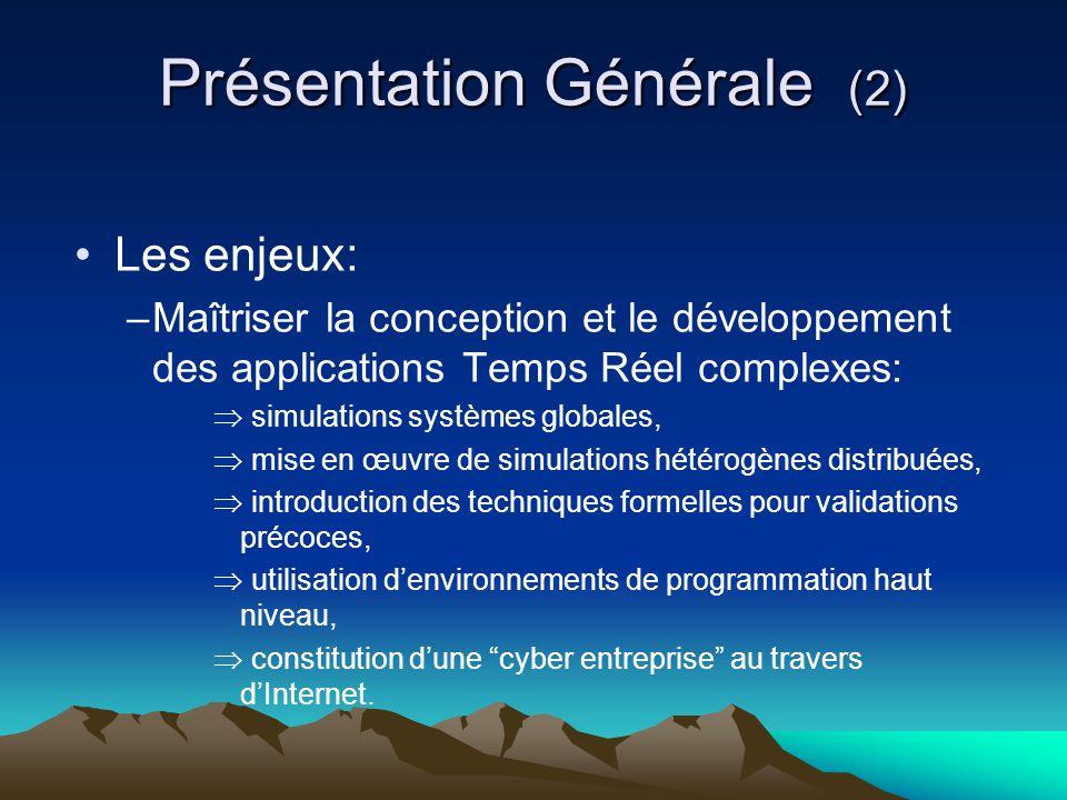 Présentation Générale (2) Les enjeux: –Maîtriser la conception et le développement des applications Temps Réel complexes:  simulations systèmes globa
