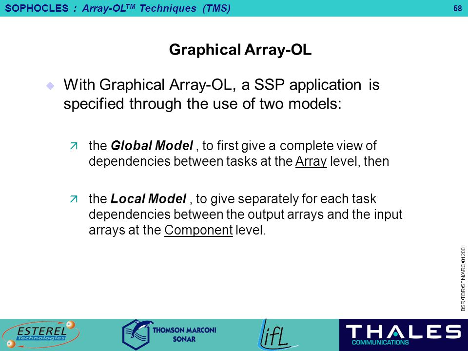 SOPHOCLES : Array-OL TM Techniques (TMS) BSR/TBR/STN/ARC/012001 58 Graphical Array-OL  With Graphical Array-OL, a SSP application is specified throug