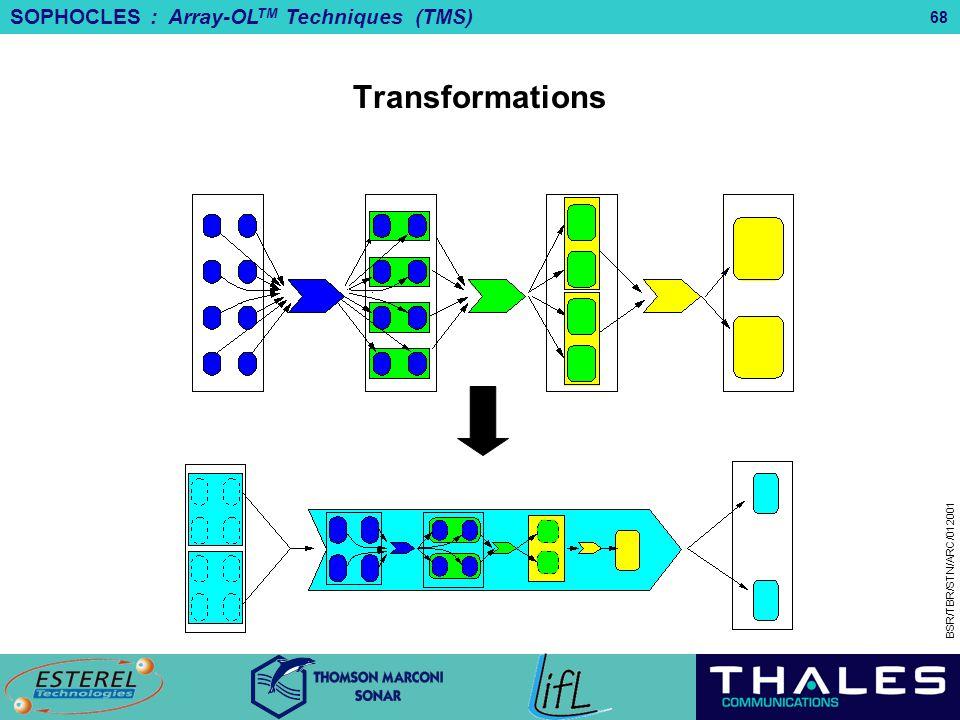 SOPHOCLES : Array-OL TM Techniques (TMS) BSR/TBR/STN/ARC/012001 68 Transformations