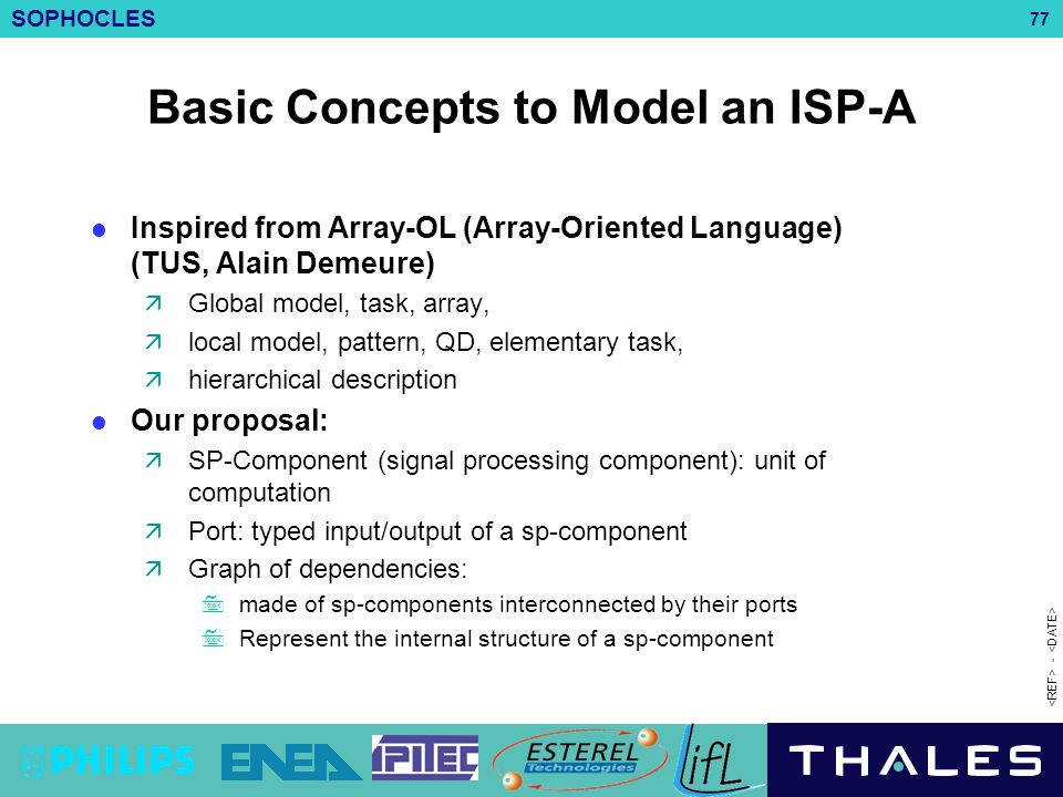 SOPHOCLES 77 - Basic Concepts to Model an ISP-A Inspired from Array-OL (Array-Oriented Language) (TUS, Alain Demeure)  Global model, task, array,  l