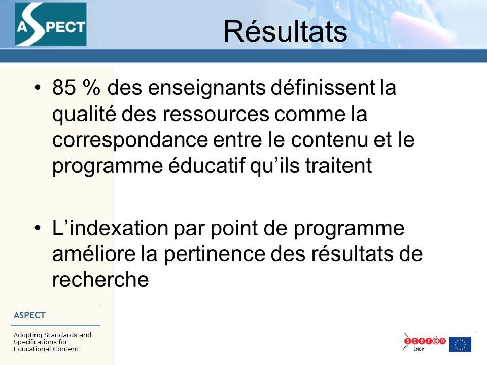 Résultats 85 % des enseignants définissent la qualité des ressources comme la correspondance entre le contenu et le programme éducatif qu'ils traitent