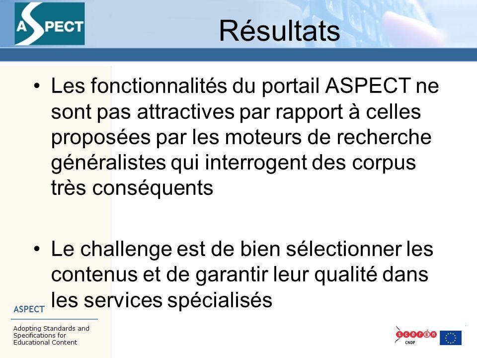 Résultats Les fonctionnalités du portail ASPECT ne sont pas attractives par rapport à celles proposées par les moteurs de recherche généralistes qui i