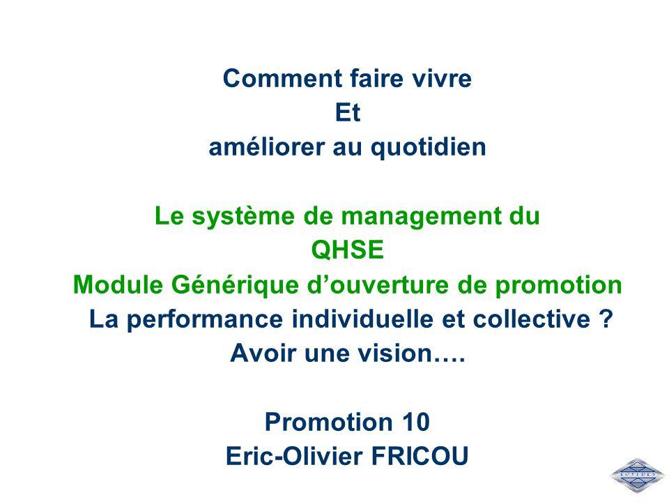 Comment faire vivre Et améliorer au quotidien Le système de management du QHSE Module Générique d'ouverture de promotion La performance individuelle e