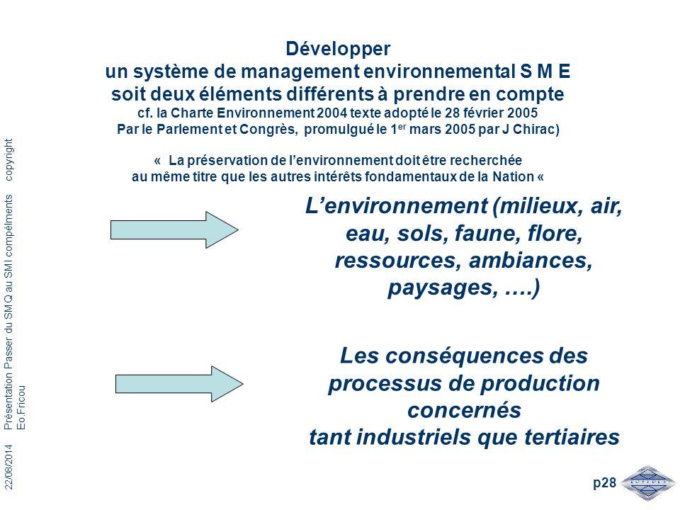 22/08/2014 Présentation Passer du SMQ au SMI compélments copyright Eo.Fricou p28 Développer un système de management environnemental S M E soit deux é