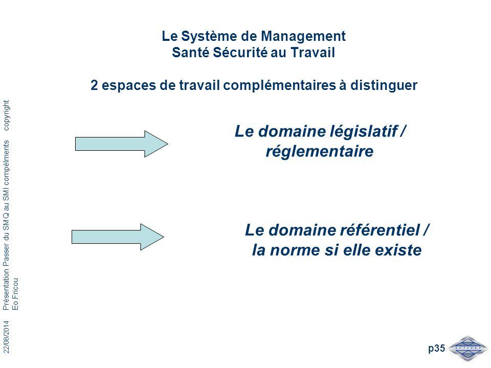 22/08/2014 Présentation Passer du SMQ au SMI compélments copyright Eo.Fricou p35 Le Système de Management Santé Sécurité au Travail 2 espaces de trava