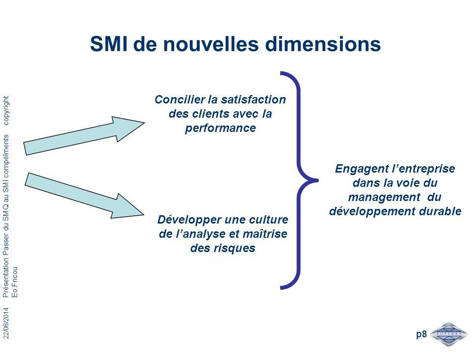 22/08/2014 Présentation Passer du SMQ au SMI compélments copyright Eo.Fricou p8 SMI de nouvelles dimensions Concilier la satisfaction des clients avec