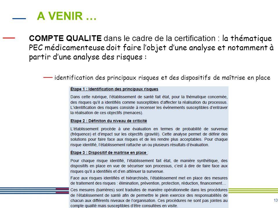 13 A VENIR … — COMPTE QUALITE dans le cadre de la certification : la thématique PEC médicamenteuse doit faire l'objet d'une analyse et notamment à par