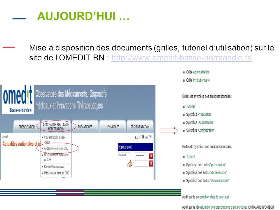 18 AUJOURD'HUI … — Mise à disposition des documents (grilles, tutoriel d'utilisation) sur le site de l'OMEDIT BN : http://www.omedit-basse-normandie.f