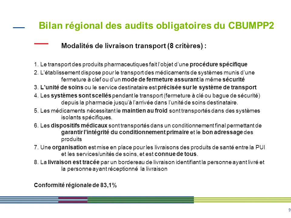 9 Bilan régional des audits obligatoires du CBUMPP2 Modalités de livraison transport (8 critères) : 1. Le transport des produits pharmaceutiques fait