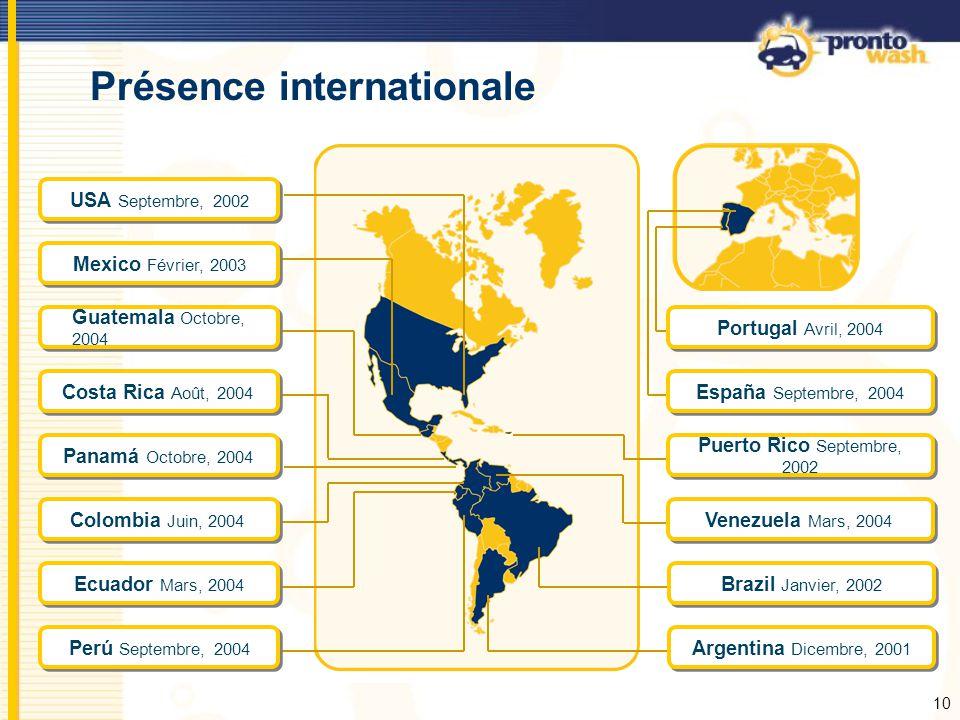 10 Présence internationale USA Septembre, 2002 Mexico Février, 2003 Venezuela Mars, 2004 Ecuador Mars, 2004 Argentina Dicembre, 2001 Brazil Janvier, 2