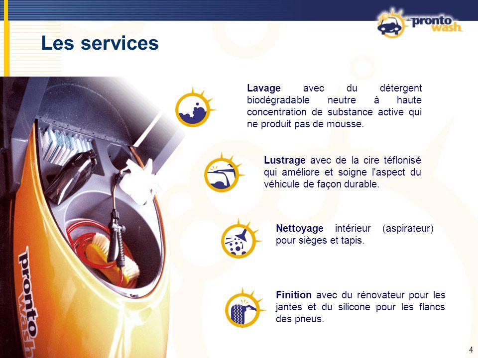 5 Comparaison de lavages N exige aucun déplacement de la voiture, gain de temps.