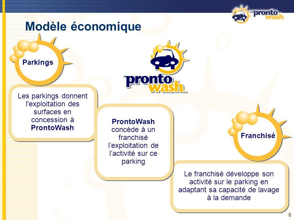 8 Modèle économique Les parkings donnent l'exploitation des surfaces en concession à ProntoWash Le franchisé développe son activité sur le parking en