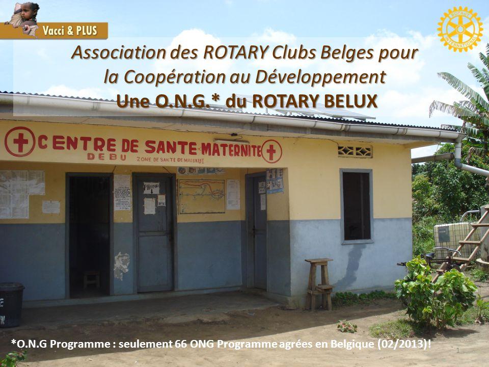 1 Association des ROTARY Clubs Belges pour la Coopération au Développement Une O.N.G.* du ROTARY BELUX Une O.N.G.* du ROTARY BELUX *O.N.G Programme : seulement 66 ONG Programme agrées en Belgique (02/2013)!