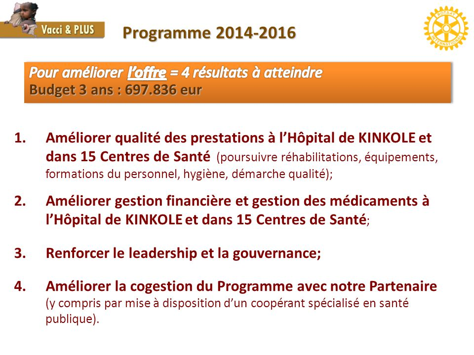1.Améliorer qualité des prestations à l'Hôpital de KINKOLE et dans 15 Centres de Santé (poursuivre réhabilitations, équipements, formations du personn