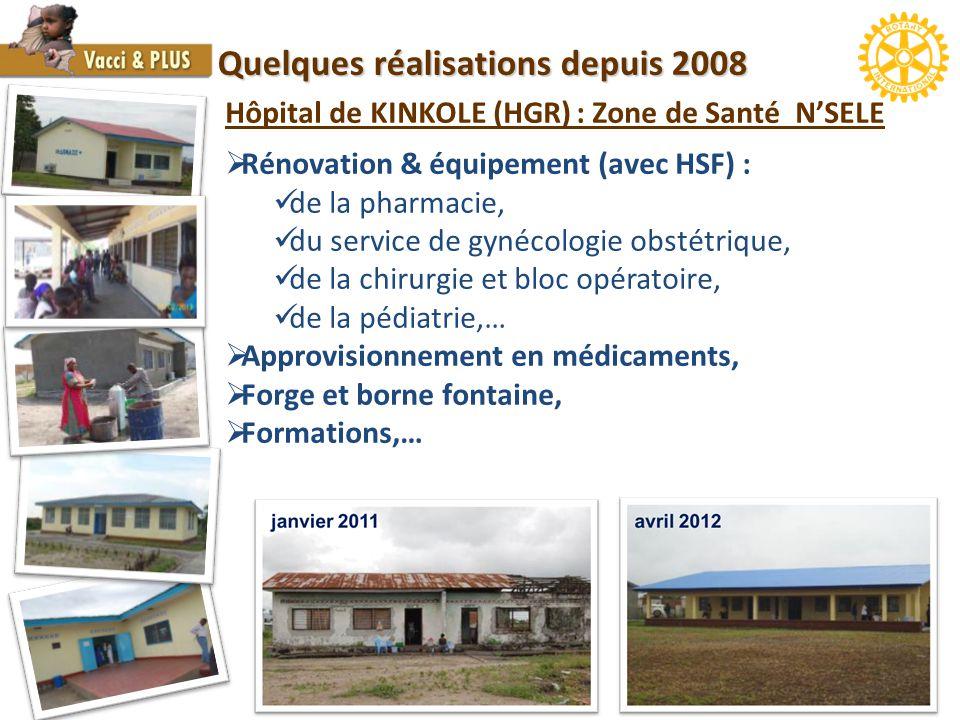 Quelques réalisations depuis 2008 Hôpital de KINKOLE (HGR) : Zone de Santé N'SELE  Rénovation & équipement (avec HSF) : de la pharmacie, du service de gynécologie obstétrique, de la chirurgie et bloc opératoire, de la pédiatrie,…  Approvisionnement en médicaments,  Forge et borne fontaine,  Formations,…