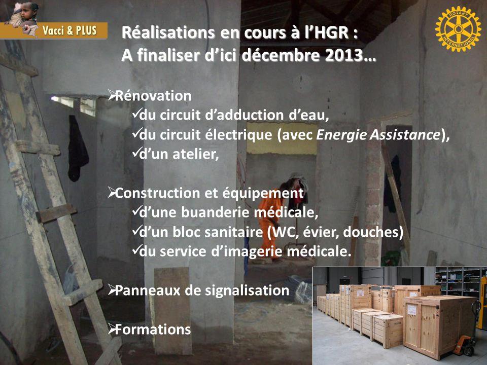  Rénovation du circuit d'adduction d'eau, du circuit électrique (avec Energie Assistance), d'un atelier,  Construction et équipement d'une buanderie