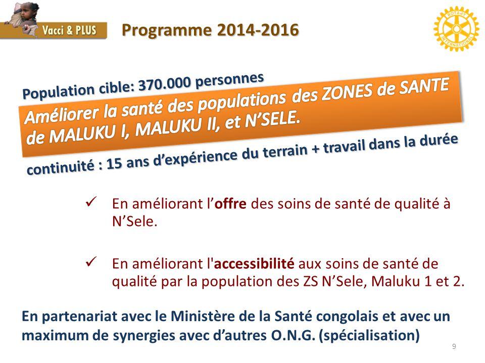 9 Programme 2014-2016 En améliorant l'offre des soins de santé de qualité à N'Sele. En améliorant l'accessibilité aux soins de santé de qualité par la