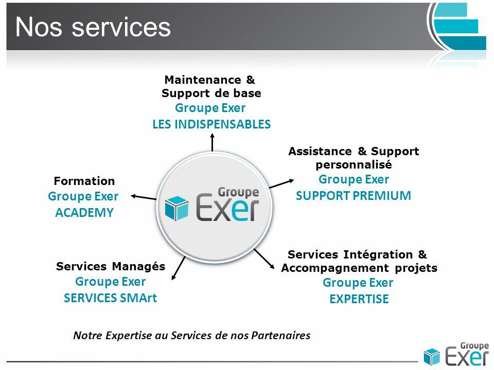 Nos services Maintenance & Support de base Groupe Exer LES INDISPENSABLES Formation Groupe Exer ACADEMY Assistance & Support personnalisé Groupe Exer