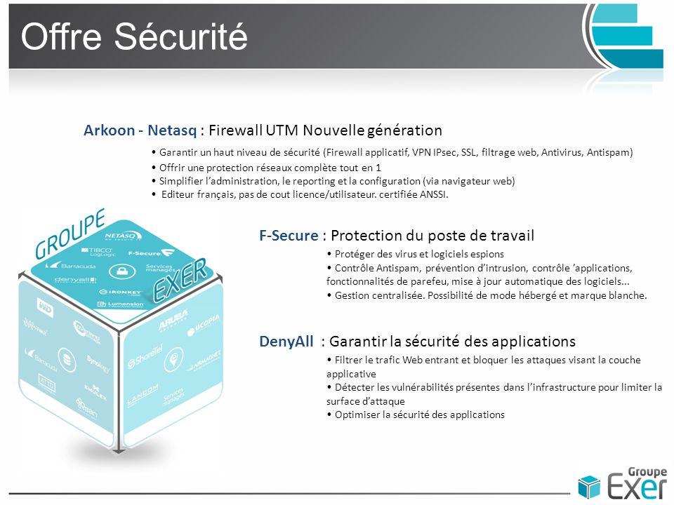 Offre Sécurité Arkoon - Netasq : Firewall UTM Nouvelle génération Garantir un haut niveau de sécurité (Firewall applicatif, VPN IPsec, SSL, filtrage w