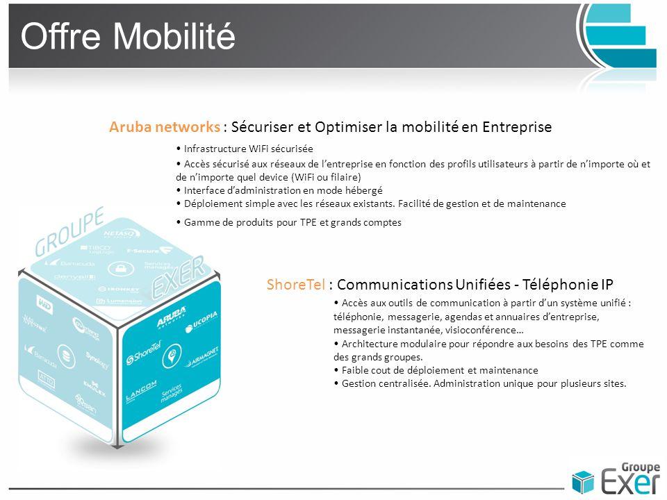 Offre Mobilité Aruba networks : Sécuriser et Optimiser la mobilité en Entreprise Infrastructure WiFi sécurisée Accès sécurisé aux réseaux de l'entrepr