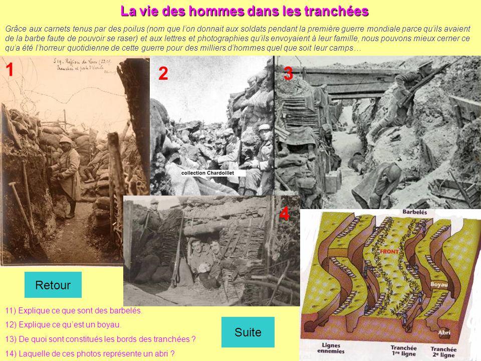 La vie des hommes dans les tranchées Grâce aux carnets tenus par des poilus (nom que l'on donnait aux soldats pendant la première guerre mondiale parc