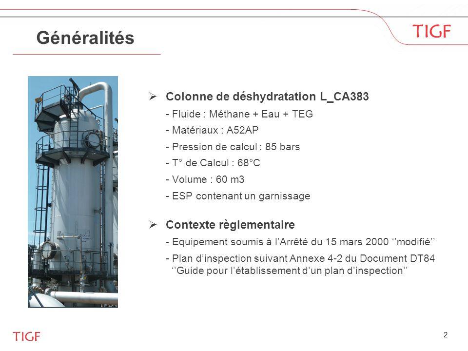 2 Généralités  Colonne de déshydratation L_CA383 - Fluide : Méthane + Eau + TEG - Matériaux : A52AP - Pression de calcul : 85 bars - T° de Calcul : 6