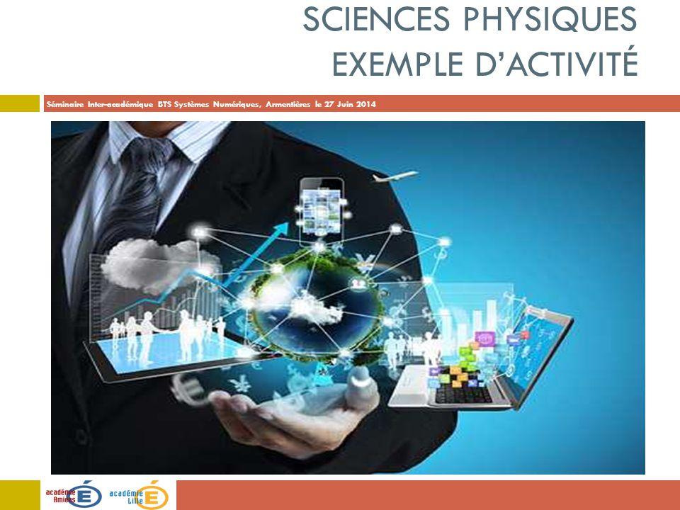 Séminaire Inter-académique BTS Systèmes Numériques, Armentières le 27 Juin 2014 SCIENCES PHYSIQUES EXEMPLE D'ACTIVITÉ