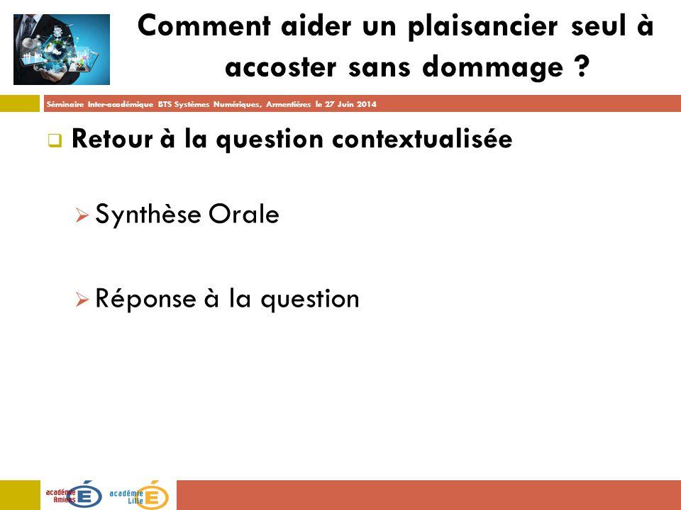 Séminaire Inter-académique BTS Systèmes Numériques, Armentières le 27 Juin 2014 Comment aider un plaisancier seul à accoster sans dommage .