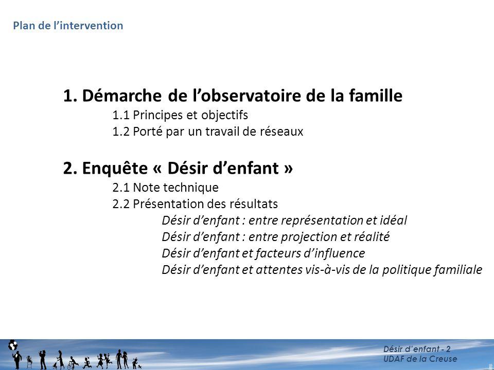 1. Démarche de l'observatoire de la famille 1.1 Principes et objectifs 1.2 Porté par un travail de réseaux 2. Enquête « Désir d'enfant » 2.1 Note tech