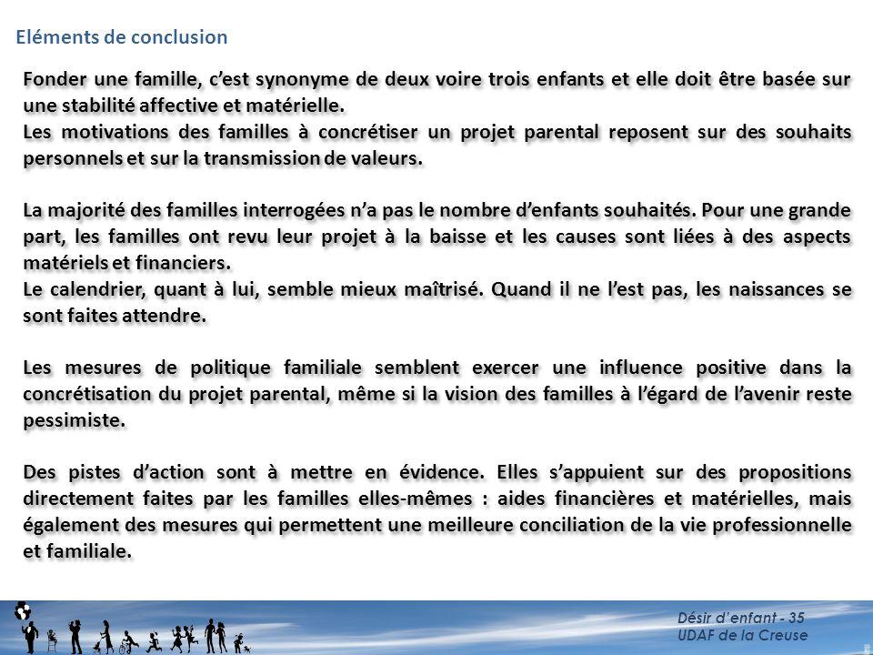 Eléments de conclusion Désir d'enfant - 35 UDAF de la Creuse Fonder une famille, c'est synonyme de deux voire trois enfants et elle doit être basée su