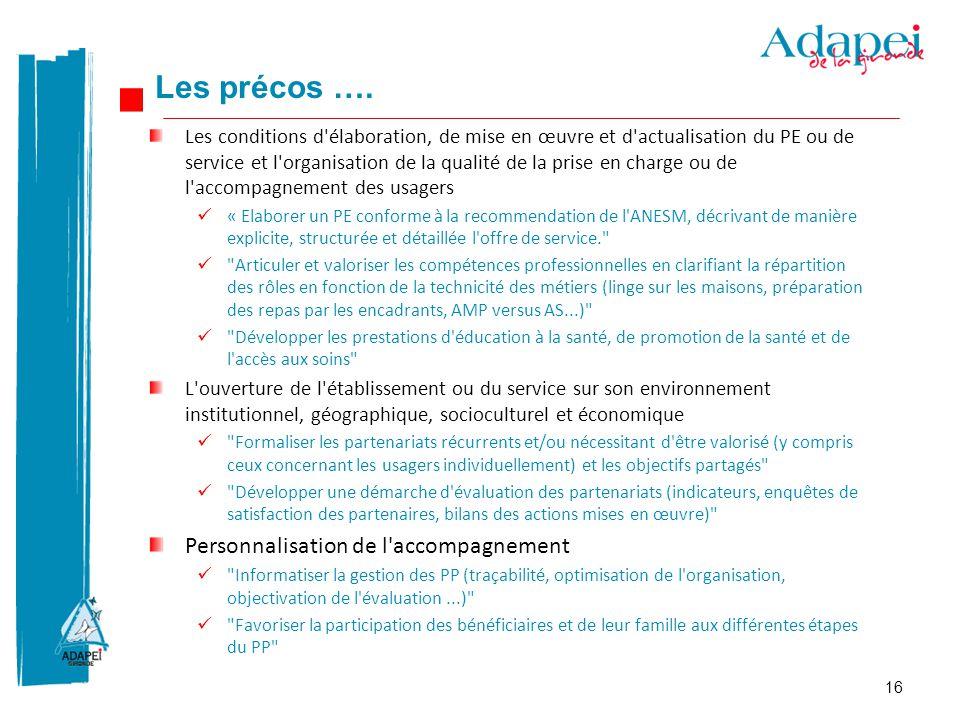 16 Les conditions d'élaboration, de mise en œuvre et d'actualisation du PE ou de service et l'organisation de la qualité de la prise en charge ou de l