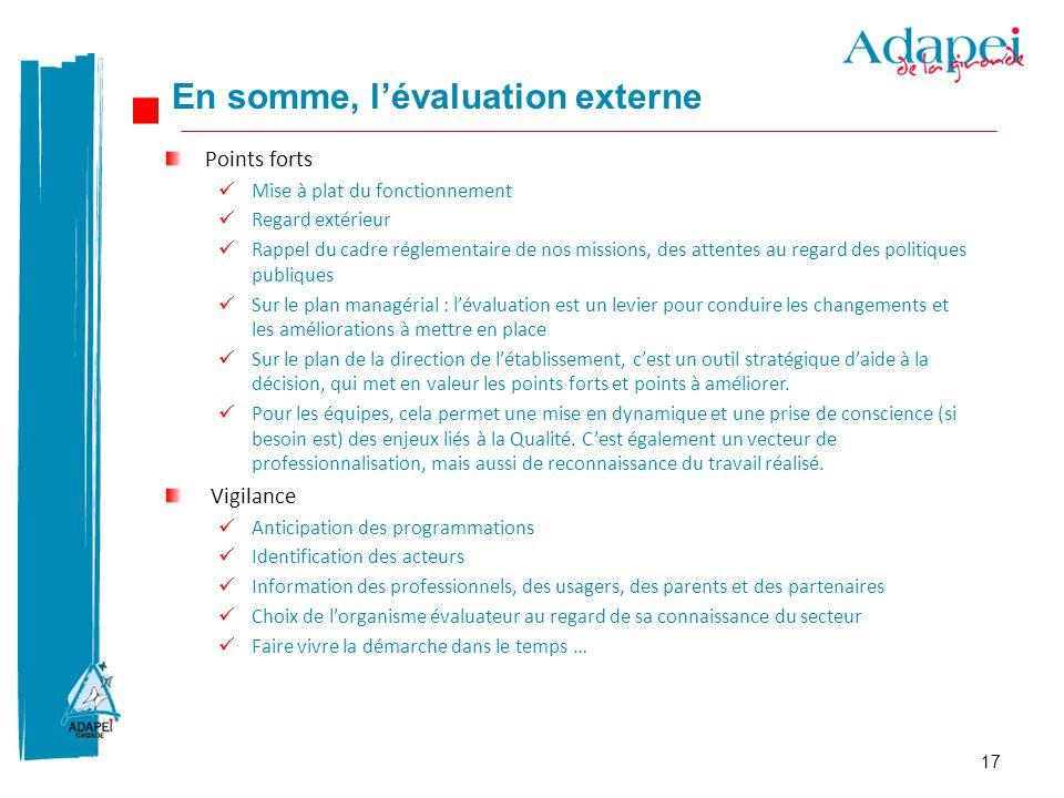17 Points forts Mise à plat du fonctionnement Regard extérieur Rappel du cadre réglementaire de nos missions, des attentes au regard des politiques pu